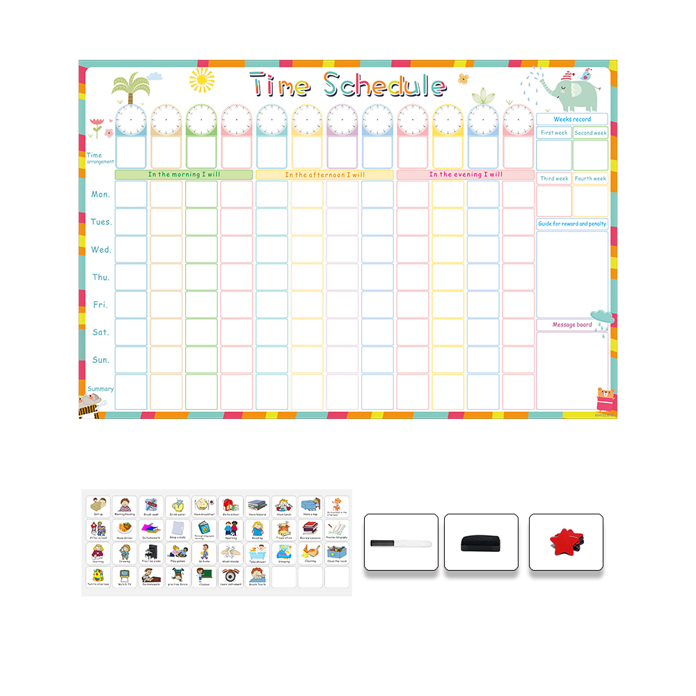Magnetic Erasable Time Schedule Calendar WhiteBoard Chore Daily Weekly Planner Writing To-Do List Kids Reward Chart Wall Sticker 4