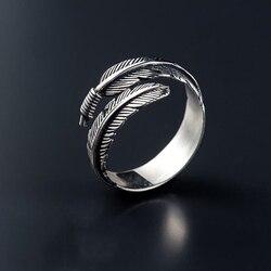 Minimaliste rétro couleur argent réglable anneau d'ouverture créatif plume papillon arbre branche bagues pour femmes breloque bijoux