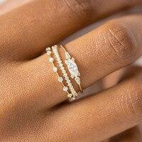 Juego de anillos pequeños de circonia cúbica para mujer, sortija pequeña, Color dorado, anillos Midi, accesorios de joyería de aniversario de boda, regalos, KAR229