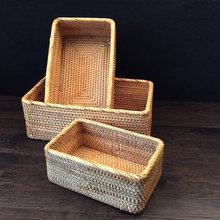 Плетеная вручную корзина из ротанга коробка для хранения корзины