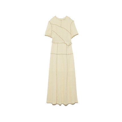 Neploe Chic Wooden Ear Patchwork Pleated Women Dress 2021 Spring Summer Drawstring Vestidos New High Waist Plaid Dresses 1H970 5