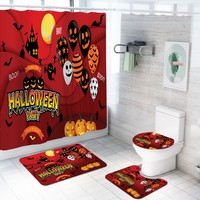 Halloween Polyester Shower Curtains Cartoon Bathroom Set with Bathroom Rugs Toilet Lip Cover U Shape Rug Free Hooks Home Decor