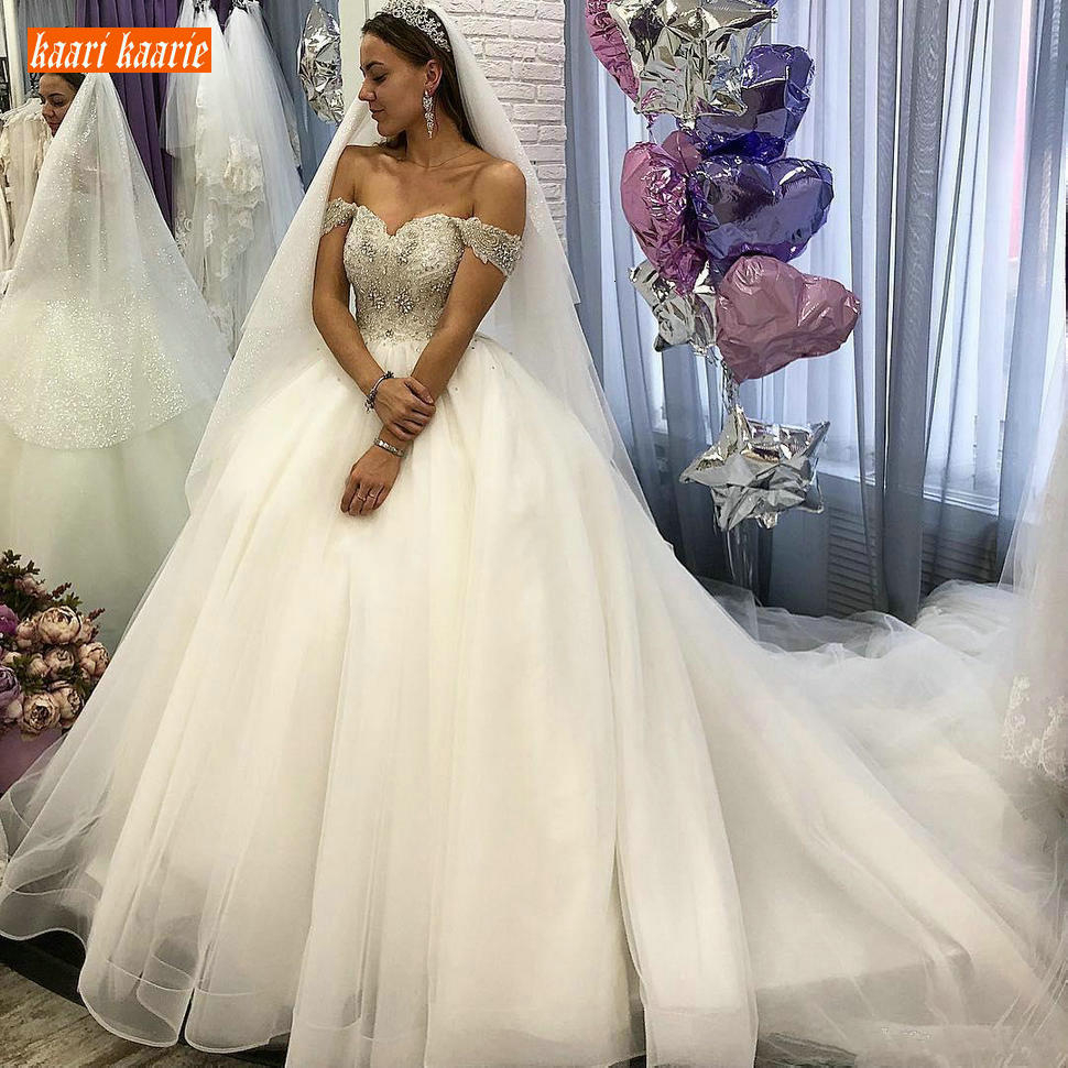 Fabulous Africa Crystal White Wedding Dress Sweetheart Bling Beaded Lace Up Tulle Ball Gown Bride Dresses Princess Wedding Gowns