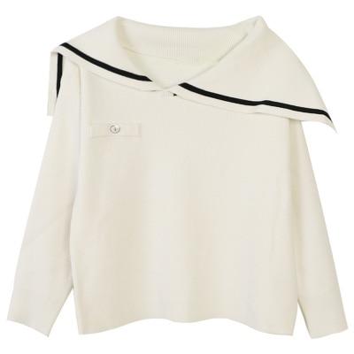 Makuluya черный белый Высокое качество женские шерстяные милые Мори матросский воротник вязаный Топ свитер пуловер Одежда L6