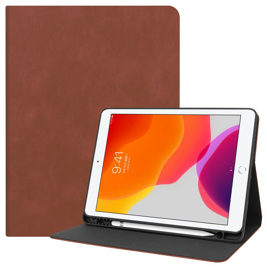 brown Black Slim Smart PU Leather Case For Apple iPad 10 2 2019 with Pencil Holder Cover For