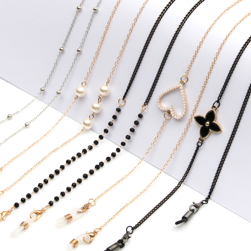 Fashion Pearl Mask Chains Eyeglasses Chain For Women Retro Metal Sunglasses Lanyards Eyewear Cord Holder Neck Strap Dropshipping