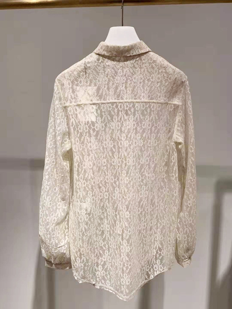 Romantic lady 2019 openwork lace shirt long long sleeve kimono blusas mujer de moda plus size shirt women - 2