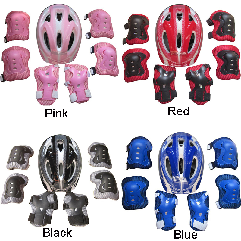7Pcs/Set Kid Child Roller Skating Bike Helmet Knee Wrist Guard Elbow Pad Kit For 5-15 Years Old For Roller Skating/Skateboarding
