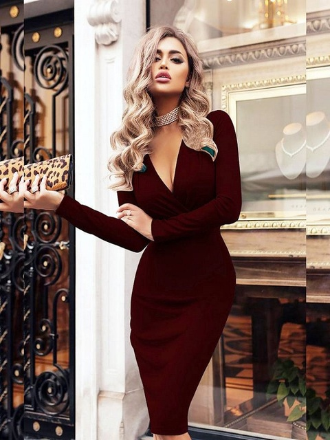 Women's Dress Autumn Winter Casual Solid Color Long Sleeve Elegant Office Lady Dress Sexy Deep V-Neck Bodycon Pencil Party Dress 4