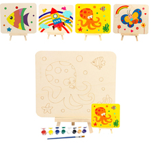1Set Wooden DIY Drawing Board Toys For Children Painting Kindergarten Graffiti Art Kids Craft Educational Toys Decorations Gifts