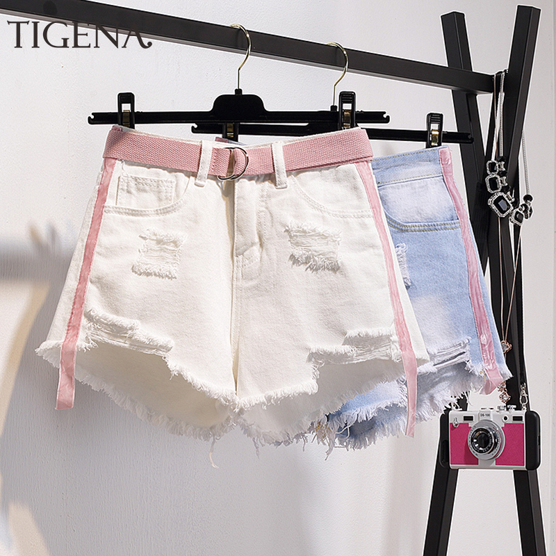 TIGENA Cute Summer Denim Shorts Women With Belt Pocket 2020 Plus Size 5XL High Waist Jeans Shorts Female With Hole Ripped Tassel