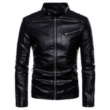 2020 Brand clothing Warm Men Leather Jacket Mens Leather Motorcycle Standing Collar Motorcycle Style Men's Leather Jackets S-XXL free shipping new cool hot pu mandarin collar men s black solid leather motorcycle biker jacket sizes s to xxl