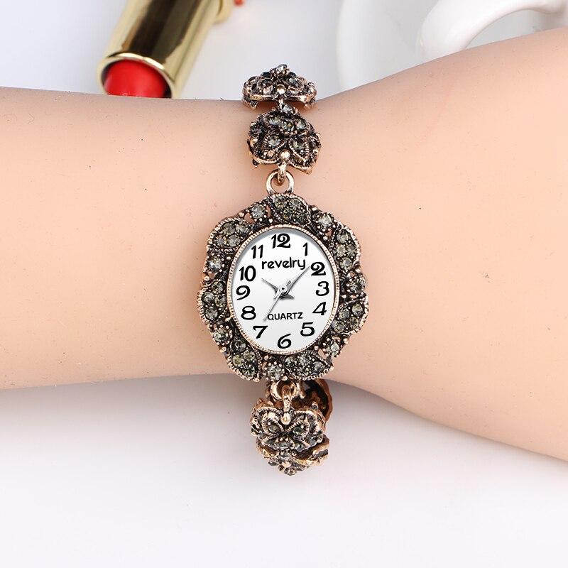 QINGXIYA Brand Ancient Gold Women Bracelet Watches Fashion Rhinestone Luxury Quartz-Watches Ladies Casual Dress Sport Watch