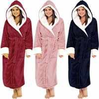Femmes hiver peluche allongé châle peignoir maison vêtements à manches longues Robe manteau peignoir femmes peignoire femme #35