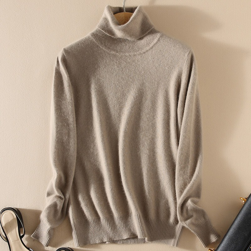 2019 Autumn And Winter Cashmere Turtleneck Sweater Women's Head High Collar Sweater Women's Sweater Solid Color Ladies