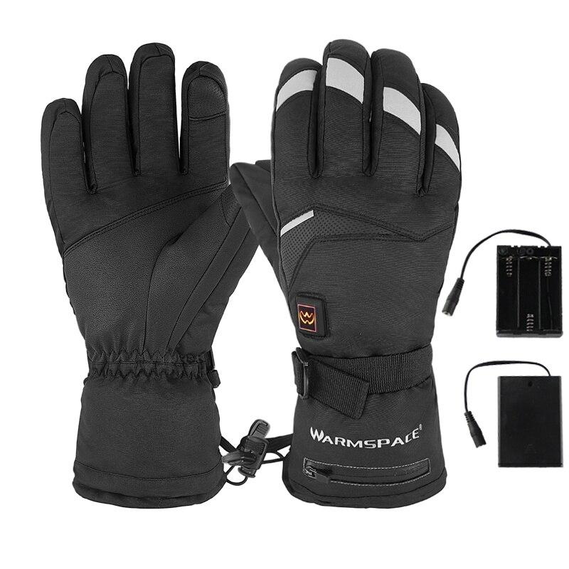 Зимние электрические термоперчатки, перчатки для сенсорного экрана, лыж, мотоцикл, зимние перчатки, водонепроницаемые, с подогревом, питани...