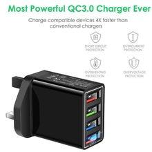 Chargeur mural Hub USB à 4 ports QC 3.0, adaptateur de téléphone pour IOS et Android, charge rapide, prise britannique, 23 juin