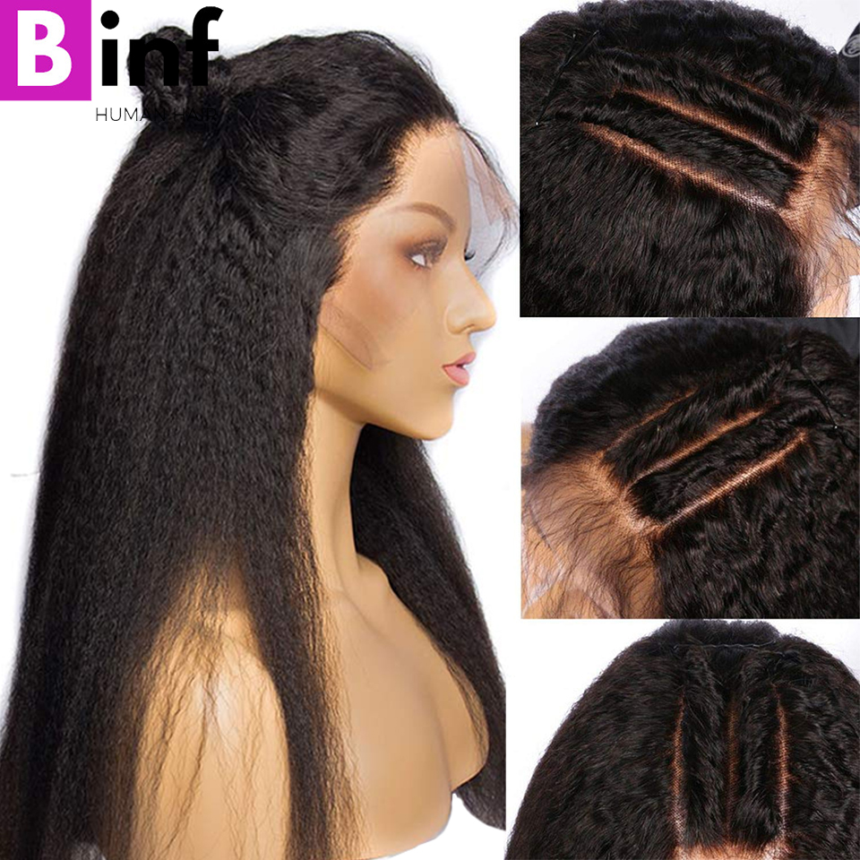 Kinky Straight Wig 13x4 Lace Front Human Hair Wig Pre Plucked With Baby Hair Human Hair Wigs Remy Yaki Lace Front Wig Color 1B
