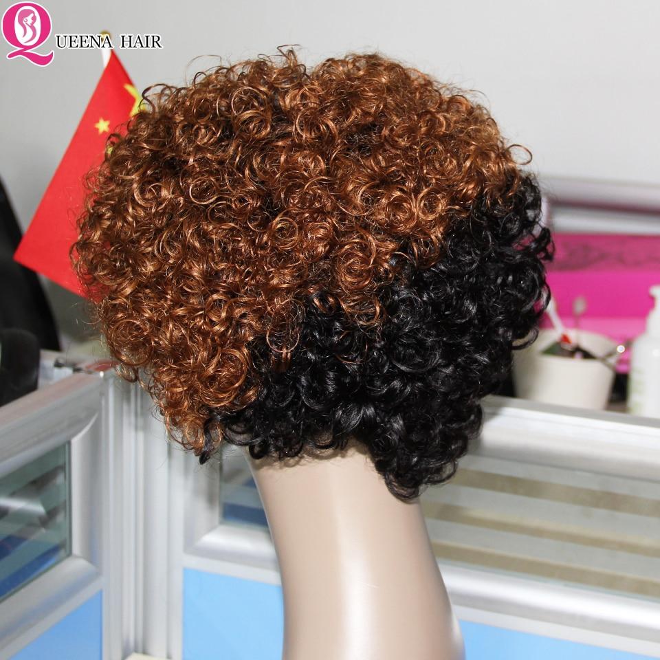 Perucas de cabelo humano encaracolado curto para