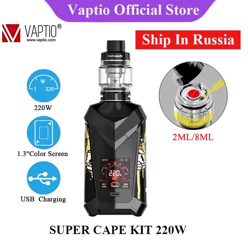 Envoi en RU! Kit de vape Original Vaptio SUPER CAPE 220W avec atomiseur 2/8ml et Kits E-cigarette de vaporisateur d'interface utilisateur fraîche d'écran de couleur de 1.3 pouces