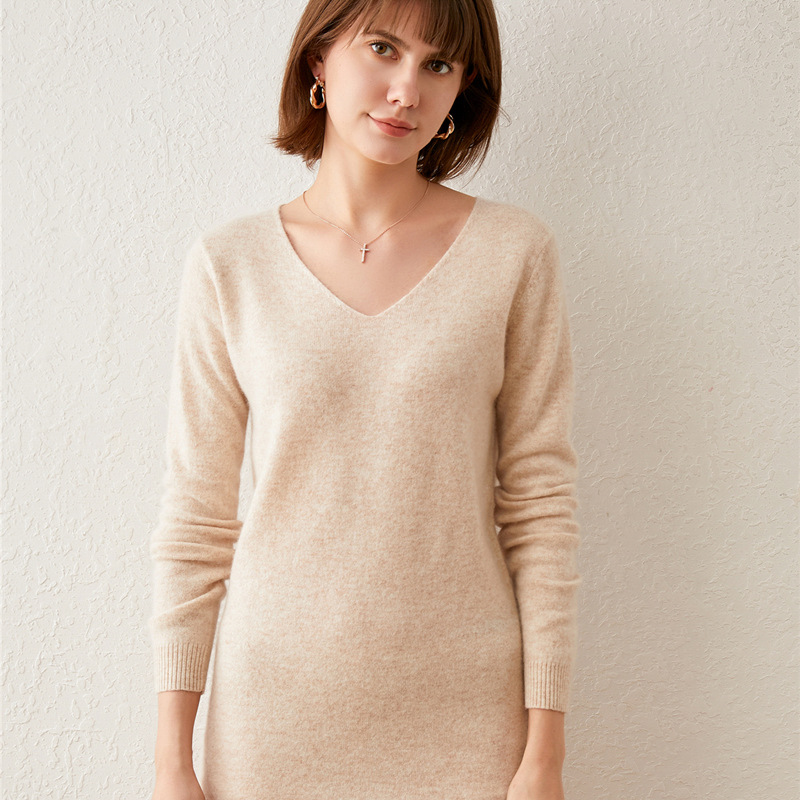 Women Blue Knitted Dress Clothes Women's Autumn And Winter Lazy Mini Length Sweaters Dress V-neck Thin Knitted Short Dress G0001