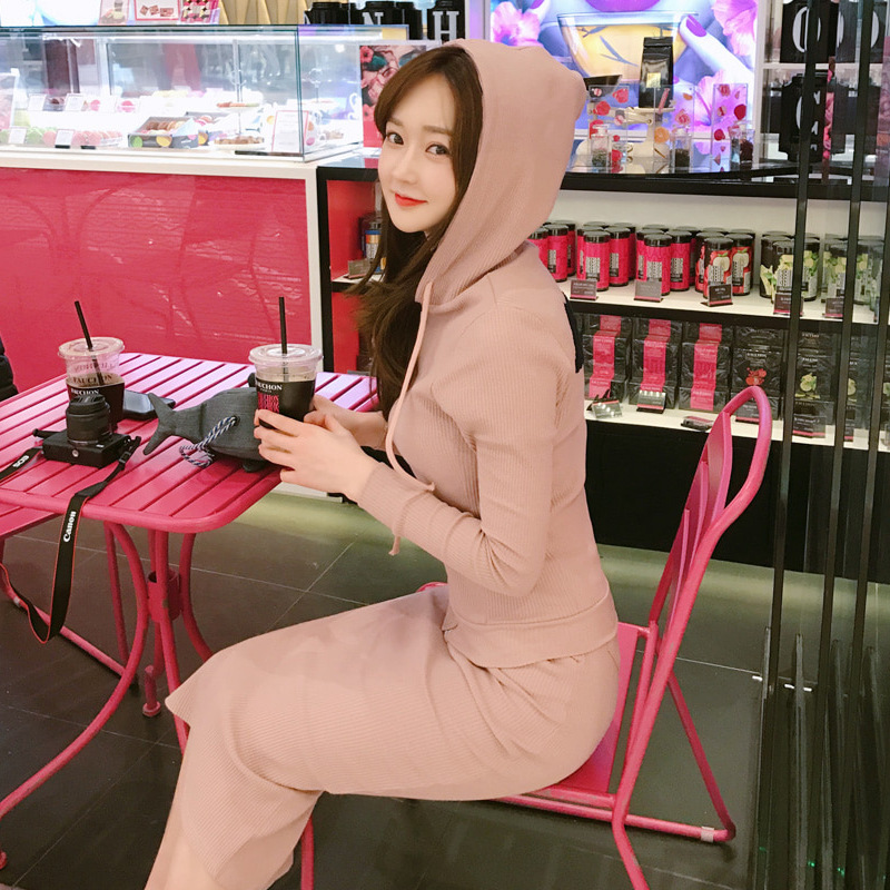 Korean-style Set 2019 Autumn And Winter WOMEN'S Dress New Style Sports Leisure Suit Hooded Long Skirts Slim Fit Slimming Two-Pie