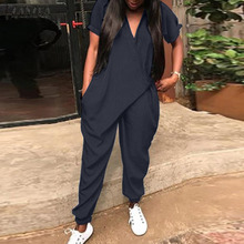 2019 ZANZEA Fashion Women Summer Rompers Solid Long Jumpsuits Casual Loose V Nec