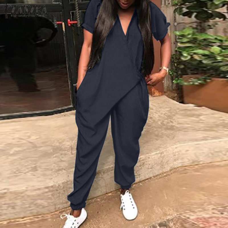 2020 ZANZEA Fashion Women Summer Rompers Solid Long Jumpsuits Casual Loose V Neck Short Sleeve Overalls Harem Pants Playsuits