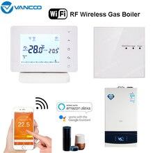 Termostato de habitación inalámbrico WiFi y RF Calefacción de caldera de Gas controlador de temperatura inteligente Control remoto funciona con Alexa Google Home