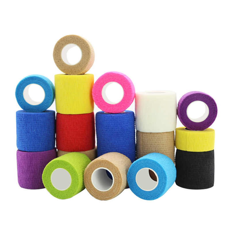 Sports Self-Adherent Cohesive Tape Medical Vet Tape Bandage First Aid Wraps For Knee Wrist Ankle Sprains Swelling Neon Colors