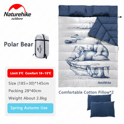 Naturehike Polar Bear Double Person Camping Sleeping Bag Detachable Single Sleeping Bag With Pillow Lihgtweight Breathable