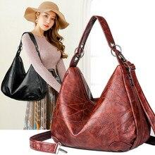 цены Vintage Women Hobos Bags Female Shoulder Bag Large capacity soft patchwork Oil wax leather Retro Women's Handbag for Mother Gift