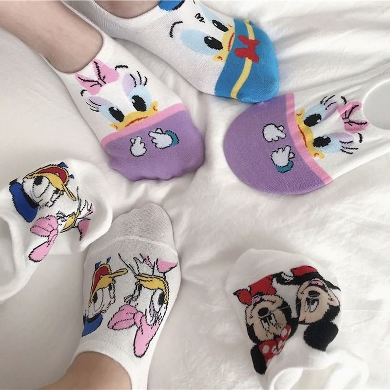 5 Pairs Of Women Summer Cartoon Kawaii Invisible Socks Funny Animal Fruit Girl Socks Slippers Korean Style Female Ankle Socks
