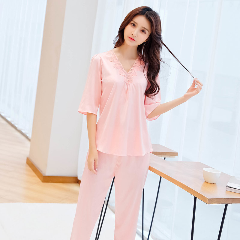 Pajamas Women's Spring And Autumn Long Sleeve Thin Model Silk Korean-style Cute Sweet Winter Tracksuit Two-Piece Set