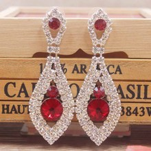 1pcs beautiful Elegant red crystal earring silver rose large blue/red/ wedding /party colorful Zerong rhinestone