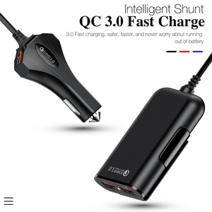 Image 2 - 4 Port Quick Charge QC 3.0 USB 3.1 Fast Charger Cable Back Clip Mobile Phone Car Charger Adapter For iPhone Samsung Xiaomi LG