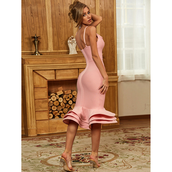 Hot Bodycon Bandage Dress 2020 Sexy V Neck Backless Ball Gown Pink Women Summer Dress Fashion Evening Party Dress Vestido 1