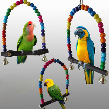 1PC Natural Wooden Parrots Swing Toy Birds Colorful Beads Bird Supplies Bells Toys Perch Hanging Swings Cage for Pets 1