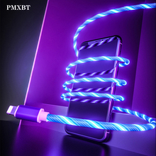 Flow Luminous Lighting Cable Fast Charging Micro USB For iphone XS Max Type C Cable LED Wire Cord Charger For Samsung Phone Cord kosadaka cord r xs 110