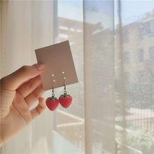 Brinco feminino novo frutas morango, brinco feminino adorável simulação morango vermelho brinco pendurado para mulheres acessórios de joias diy