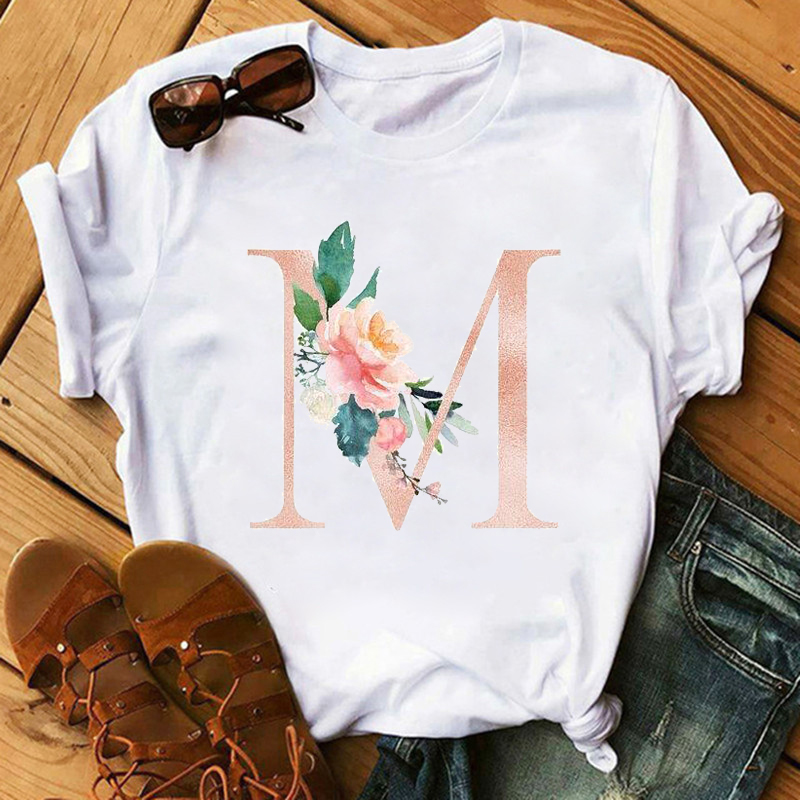 Maycaur New Female T-shirts Pink Letter Flower Women T Shirts Harajuku Fashion Thin Section Tees Tops Clothes 90s Kawaii Shirts