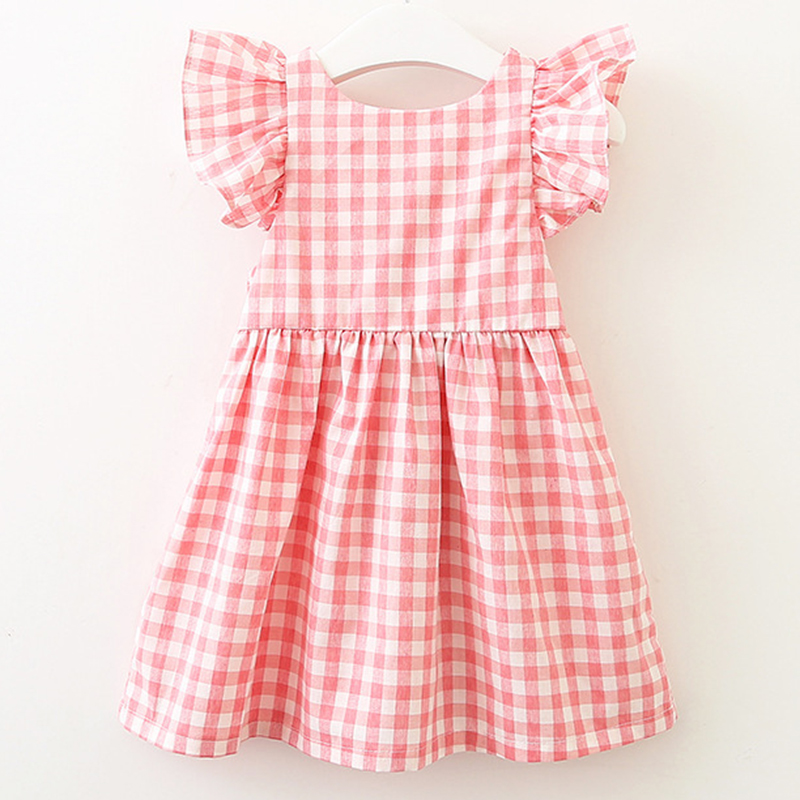 2021 New Summer Flying sleeve Plaid Baby Girl Clothes Ruffles Backless Children Dress Leisure Lovely Baby Dress Kids Clothing 4