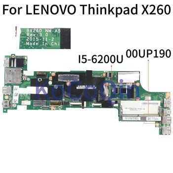KoCoQin Laptop motherboard For LENOVO Thinkpad X260 Core SR2EY I5-6200U Mainboard BX260 NM-A531 00UP190 01YT037 01EN193 01HX027