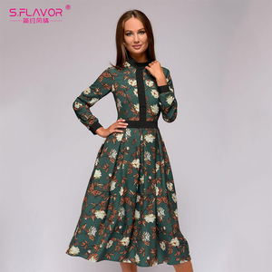 S.FLAVOR patchwork printing women A-line dress 2020 Autumn vintage style vestidos for female Casual bottom Women Midi dress(China)