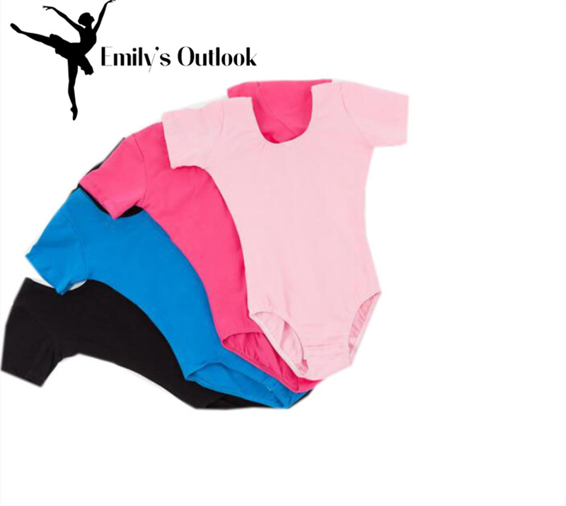 Roupa de bailarina básica para meninas, collant de manga curta baratos para ginástica rosa preto azul royal 110-170cm frete grátis, frete grátis