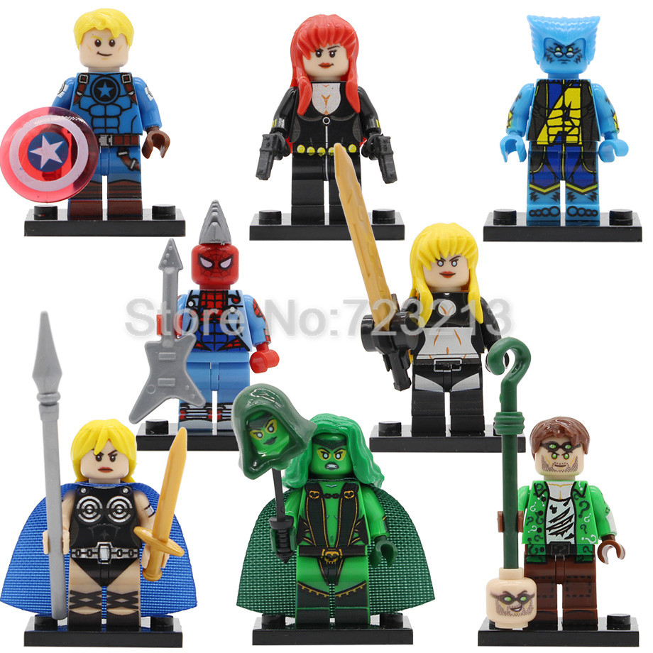 Super Hero Punk Spider Man Figure Valkyrie Magik Beast Black Widow Cap America Gamora Riddler Buidling Blocks Brick Toys Legoing