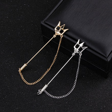 Gold Trident Badge Brooches Pins Sweater Suit Collar Long Chain Needle Lapel Pin Metal Jewelry Gift for Men Women Accessories long chain with windmill shape brooches pin