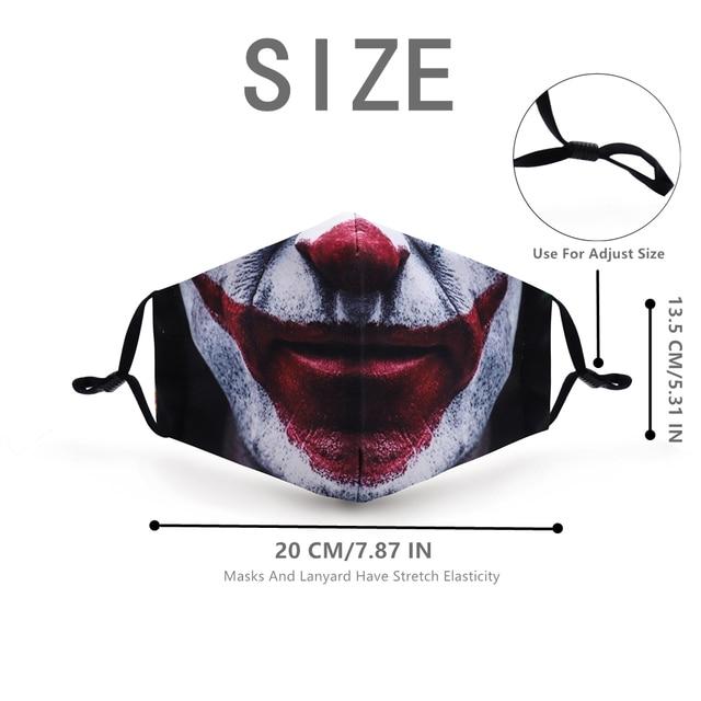 1 Pcs Funny Pattem Print Grimace Ghost Skeleton Half Face Mask Reusable Protective Dustproof Bacteria Proof Flu Mouth Face Masks 5
