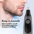 Профессиональный водонепроницаемый триммер для волос в носу  мужской светодиодный триммер для бритья в носу  черный цвет