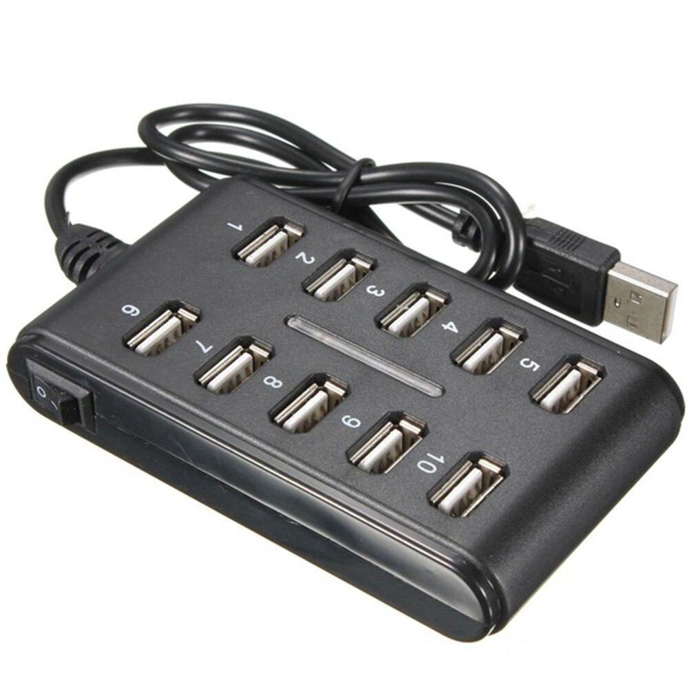 Высокоскоростной USB 480 концентратор 2,0 Мбит/с, 10 портов, Разветвитель USB для персонального компьютера, портативный Разветвитель USB для ПК, ноу...